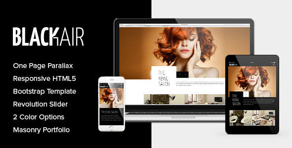 Blackair - One Page HTML5 Template for Hair Salons
